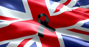 Pray for uk, waving united kingdom country animation flag color background with black ribbon, victims in great britain england. 3D illustration stock video footage