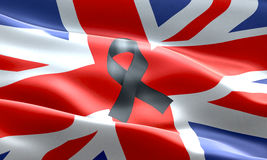 Pray for uk, waving united kingdom country flag color background with black ribbon, victims in great britain england Royalty Free Stock Photo