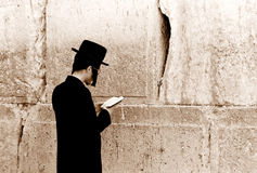 Prayer. Is praying by the Western Wall, Jerusalem royalty free stock images