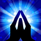 Prayer. Vector blue & white illustration Royalty Free Stock Photos