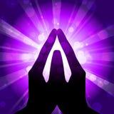 Prayer. Vector purple background with prayer Royalty Free Stock Photos