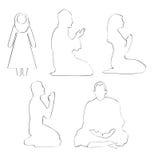 Prayer. An illustrator image for different religion prayer set Royalty Free Stock Photography