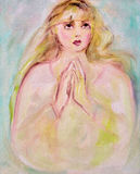 Prayer. She holds her hands together in prayer Stock Photography
