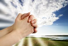 Prayer. A pair of hands in prayer Royalty Free Stock Photography