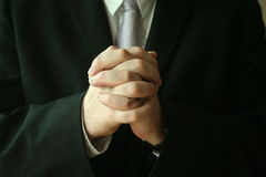 Prayer. A man prays and begs stock image