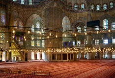 The prayer area in Sultan Ahmed Mosque  (Blue Mosque), Istanbul. Royalty Free Stock Photo