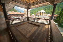 Prayer balcony in the Rila Monastery in Bulgaria Stock Images