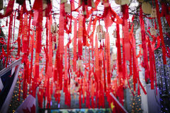 A prayer band hung from a hotel in Beijing. With the improvement of people`s living standard, self driving tour is highly sought after. In a hotel in Beijing, it Stock Images