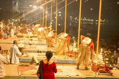 Prayer on the banks of the Ganges, Varanas. I, may 2016 royalty free stock photography