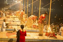 Prayer on the banks of the Ganges, Varanas. I, may 2016 stock images