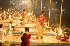 Prayer on the banks of the Ganges, Varanas. I, may 2016 royalty free stock photo