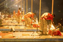 Prayer on the banks of the Ganges, Varanas. I, may 2016 stock photo