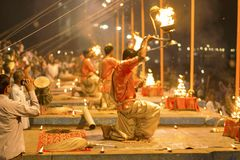 Prayer on the banks of the Ganges, Varanas. I, may 2016 stock image
