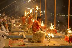 Prayer on the banks of the Ganges, Varanas. I, may 2016 royalty free stock image