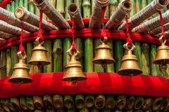 Prayer bells in a temple Royalty Free Stock Image