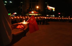 Prayer and blessing. May 12 ,there were 8.0 earthquake in China's Sichuan Province,earthquake caused at least 70,000 people dead and made millions of people stock photo