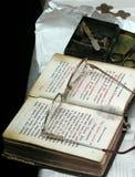 Prayer book. Eyeglasses and cross royalty free stock photos