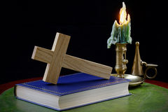 Prayer Book and Cross with Candle Royalty Free Stock Photography