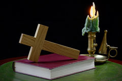 Prayer Book and Cross with Candle Royalty Free Stock Photos
