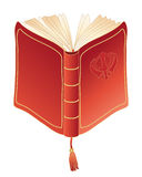 Prayer book. An illustration of a red prayer book with open pages golden trim and book mark on a white background Stock Image