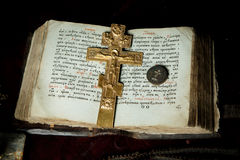 Prayer-book. In Old Russian, Orthodox cross and priest´s seal Royalty Free Stock Photo