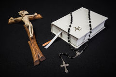 Prayer book, rosary and cross Stock Photography