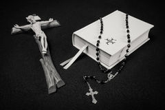 Prayer book, rosary and cross Royalty Free Stock Photography