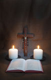 Prayer Book, Rosary, Crucifix And Two Candles Royalty Free Stock Photos