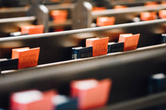 Prayer books on church pews Royalty Free Stock Photos