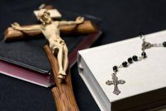 Prayer books, rosary and cross Royalty Free Stock Photo