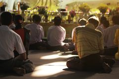 Prayer of Buddhism in Myanmar stock photo