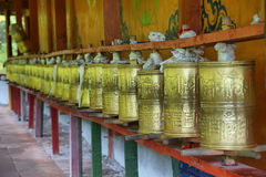 Prayer buddhist drums in Huanglong Middle Templ Royalty Free Stock Photo