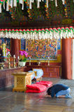 Prayer in the buddhist Sinheungsa Temple in Seoraksan. National Park, South korea Royalty Free Stock Photography