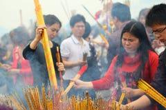 Prayer burning incense and wish good luck Royalty Free Stock Photo