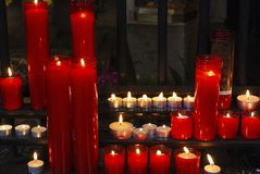 Prayer candles in cathedral. Barcelona. Spain Royalty Free Stock Photo