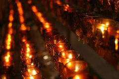 Prayer candles in a church. Votive prayer candles in St. Patrick's Cathedral, New York, NY Royalty Free Stock Photo