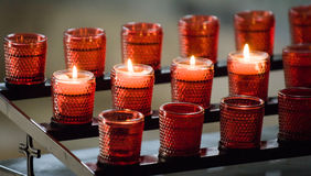 Prayer candles. At a church in rome Royalty Free Stock Image