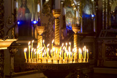 Free Prayer Candles In Orthodoxy Church Royalty Free Stock Photography - 63902707