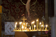 Prayer Candles in orthodoxy church Stock Image