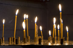 Prayer Candles in orthodoxy church Stock Photos