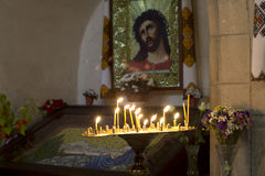 Prayer Candles in orthodoxy church Royalty Free Stock Photo