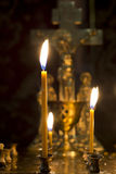 Prayer Candles in orthodoxy church Stock Photography