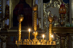 Prayer Candles in orthodoxy church. In Lviv Royalty Free Stock Photo