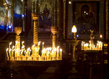 Prayer Candles in orthodoxy church. In Lviv Stock Photography