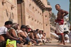 Prayer ceremony in Varanasi Royalty Free Stock Photos