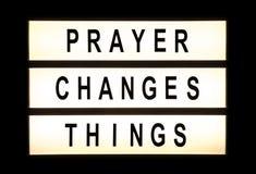 Prayer changes things hanging light box Stock Photos