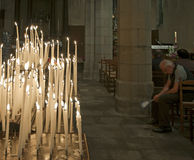 Prayer in church, France Stock Images