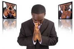 Prayer Concept. This is an image of businessman emphasising the need for silence, during prayer time Stock Image