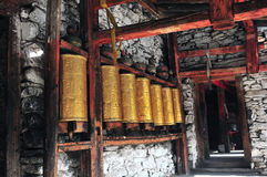 The Prayer Corridor in Goldendragon Monastery. Image of Avalokitesvara --Goldendragon Monastery Stock Photography