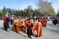 Prayer before the Cossack parade on April 21, 2012 Stock Photo